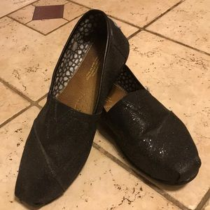 Toms glitter black shoes